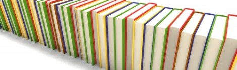 Pile of books in different colors
