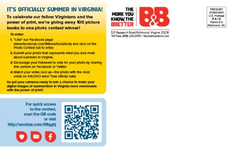 B&B Loves Virginia postcard