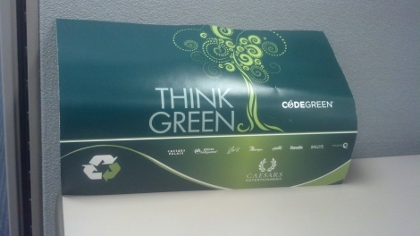 Total Reward's Think Green postcard